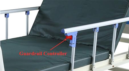 Manual Hospital Beds guardrail controller