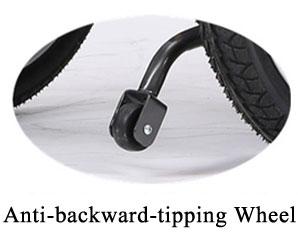 wheelchair anti backward tipping wheel